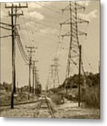 Rails And Wires Metal Print