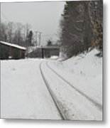 Rails In Snow Metal Print