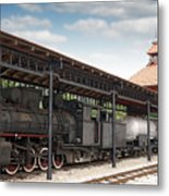Railway Station With Old Steam Locomotive Metal Print