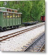 Railway Station With Old Wagons And Train Metal Print