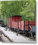 Railway Station With Old Wagons Metal Print