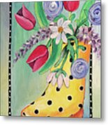Rain Boots And Flowers Metal Print