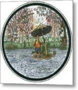Rain Gnome Rain Circle Metal Print