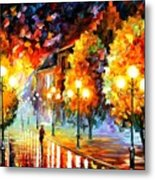Rain In The Night City Metal Print
