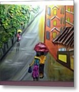 Rain Nature And Street  Metal Print