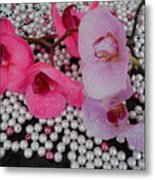 Rain On Orchids Metal Print