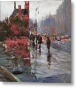 Rain On Sixth Avenue Metal Print