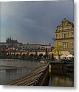 Rain Over Prague Metal Print