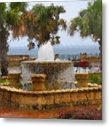 Rain Soaked Fountain Metal Print