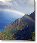 Rainbow Along The Na Pali Coast Kauai Hawaii From The Kalalau Lookout Metal Print