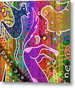 Rainbow Animals Yoga Mat Metal Print