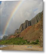 Rainbow At Kalalau  Metal Print