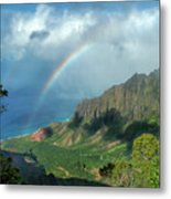 Rainbow At Kalalau Valley Metal Print
