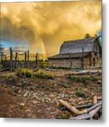 Rainbow At Moulton Barn Metal Print
