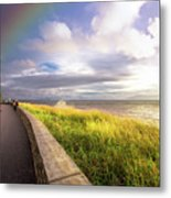 Rainbow At  Seaside Metal Print