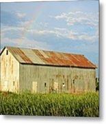 Rainbow Barn Metal Print