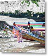 Rainbow Boats Thailand Photo Art Metal Print