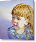 Rainbow Breeze Girl Portrait Metal Print