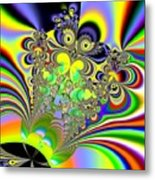 Rainbow Butterfly Bouquet Fractal Abstract Metal Print