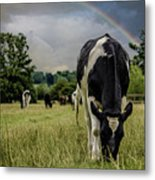 Rainbow Cow Metal Print