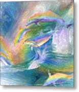 Rainbow Dolphins Metal Print