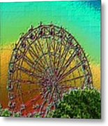 Rainbow Ferris Wheel Metal Print