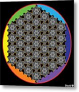 Rainbow Flower Of Life Wob Metal Print