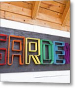Rainbow Garden Sign One Metal Print