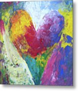 Rainbow Heart In The Cloud Acrylic Paintings Metal Print