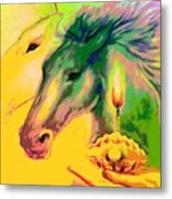 Rainbow Horses And The Pearl Of Light Metal Print