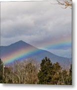 Rainbow In Front Of Sharp Top Metal Print