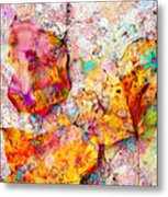 Rainbow Abstract Leaves Metal Print