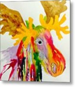 Rainbow Moose Head  - Abstract Metal Print