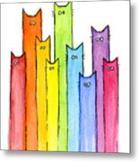 Rainbow of Cats Metal Print