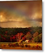 Rainbow Over Countryside Metal Print