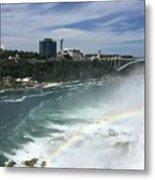 Rainbow Over Niagra Falls Metal Print