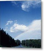 Rainbow Road Blue Sky Metal Print