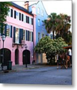 Rainbow Row Charleston Metal Print