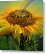 Rainbow Sunflower Metal Print