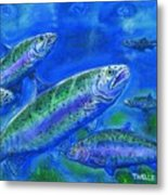 Rainbow Trout Swimming Metal Print