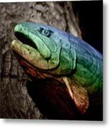 Rainbow Trout Wood Sculpture Metal Print