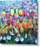 Rainbow Tulips Metal Print