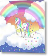 Rainbow Unicorn Clouds And Stars Metal Print