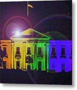 Rainbow White House Flare Metal Print
