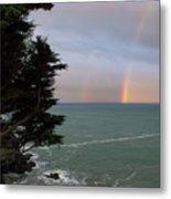 Rainbows Over The Ocean At The Mendocino Coast Metal Print