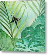 Rainforest Tropical - Philodendron Elephant Ear And Palm Leaves W Botanical Butterfly Metal Print