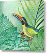 Rainforest Tropical - Tropical Toucan W Philodendron Elephant Ear And Palm Leaves Metal Print