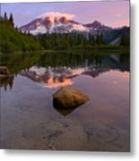 Rainier Dawn Breaking Metal Print