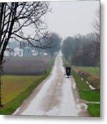 Rainy Amish Day Metal Print