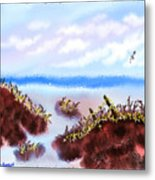 Rainy Beach Scene Metal Print